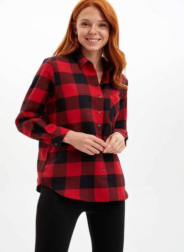 DeFacto Tek Cepli Uzun Kollu Gömlek Kırmızı